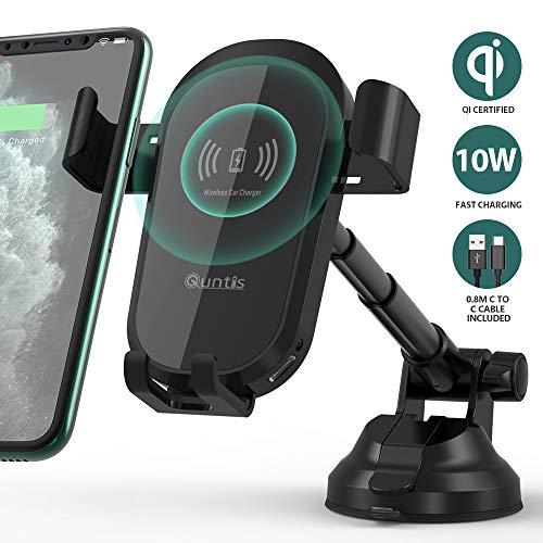 Quntis 10W/7,5W Qi Ladestation Auto Saugnapf, Windschutzscheibe/Armaturenbrett Wireless Charger Auto+0,8m Typ C Kabel, KFZ Handyhalterung Induktion für iPhone 11 Pro XR XS X 8, Galaxy S10 S9 S8 Note 8