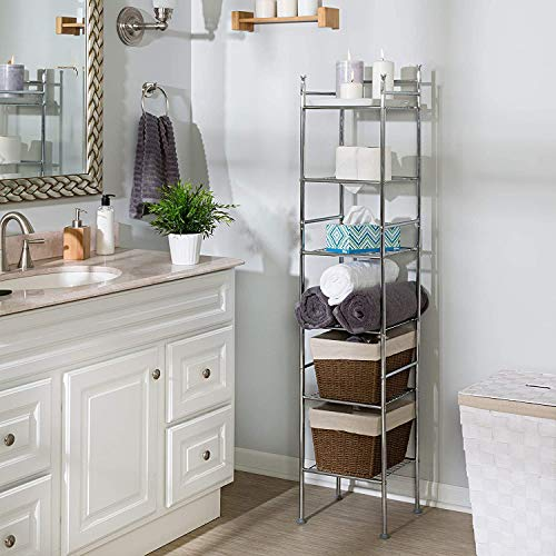 "Honey-Can-Do BTH-03484 6 Tier Metal Tower Bathroom Shelf, 12.6"" L x 11"" W x..."