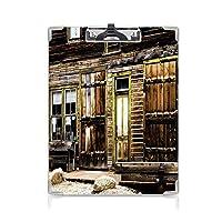 クリップボード A4 素朴な装飾 かわいい画板 アンティークのドアが付いている古い木の板の家 A4 タテ型 クリップファイル ワードパッド ファイルバインダー 携帯便利通り 茶色の石のある窓