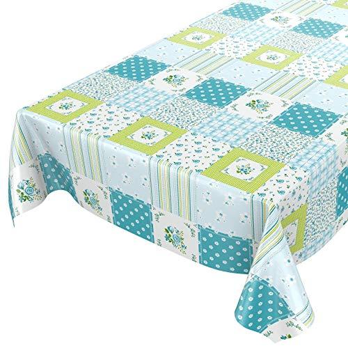 Mantel tipo hule, mantel encerado lavable, hule, mantel lavable, cuadros, verde turquesa, flores, tamaño a elegir, toalla, Sättige, Beständige Farben, 100 x 140cm