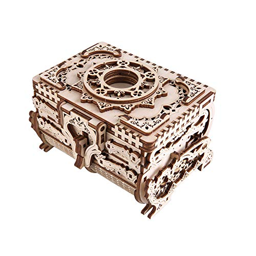 TOYROOM 3D Wooden Puzzle Treasure Box Model Mechanical Constructor Building Wood Craft Music Jewelry Antique Box Laser Cut DIY Assembly Educational Toy Birthday Gifts for Adults