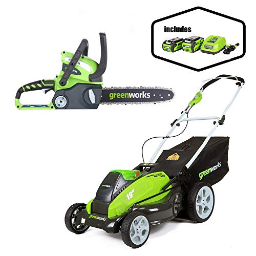 Greenworks 19-Inch 40V Cordless Lawn Mower with 12-Inch 40V Cordless Chainsaw Battery Not Included 20292 -  Sunrise Global Marketing, LLC