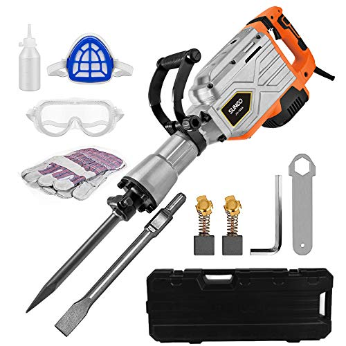 SUNCOO Electric Demolition Jack Hammer, 1900BPM Heavy Duty Jackhammer Powerful Rock Pavement Concrete Breaker Drills Kit with Gloves, Wheeled Case, Goggle and Flat&Point Chisels Bits