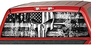 MotorINK American Flag Punisher Skull B/W Rear Window Graphic Decal Tint Sticker Truck SUV ute (Large 22