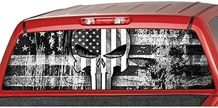 MotorINK American Flag Punisher Skull B/W Rear Window Graphic Decal Tint Sticker Truck SUV ute (Large 22
