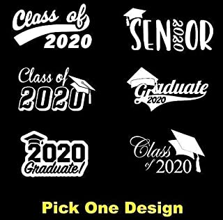 """6"""" - 36"""" Graduation Class of 2020 Decal Sticker for car or home window (6 STYLES - MULTI COLOR)"""