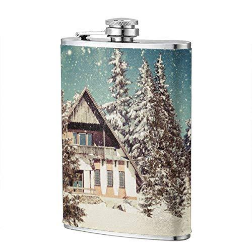 XBYC Navidad Paisaje nevado de invierno Abetos cubiertos de nieve o escarcha y espacio de copia Invierno 521365741 Frasco de licor y embudo 8 oz Frasco de bolsillo de acero inoxidable a prueba de fug