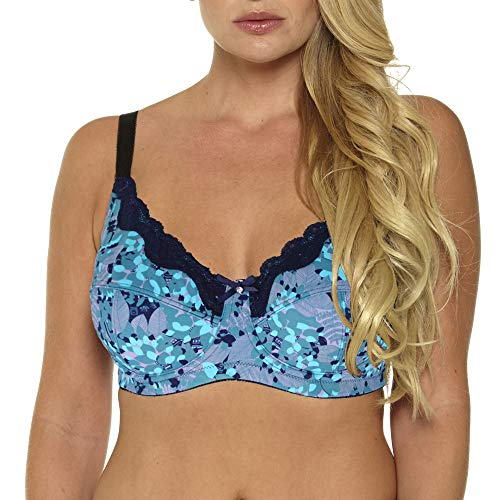 MIERSIDE Femme Soutien-Gorge 5 Colors Grande Taille avec Dentelle Armature (115D, Bleu Ciel)