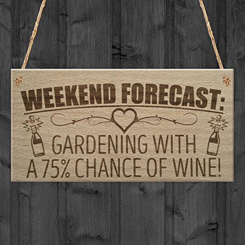 RED OCEAN Forecast Gardening Wine Funny Garden Shed Alcohol Hanging Plaque Friendship Gift Sign
