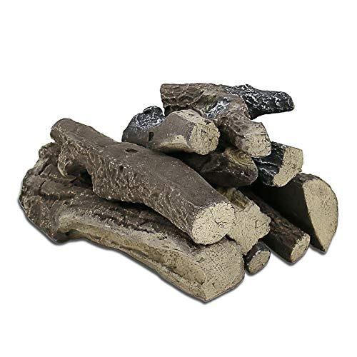 Cheapest Prices! Grisun Large Gas Fireplace Logs, 4 Piece Set of Ceramic Wood Logs, Use in Indoor, G...