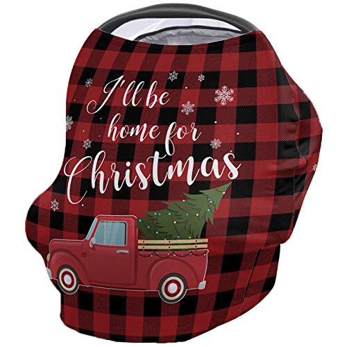 Infant Car Seat Cover I'll Be Home for Christmas Snowflake Tree on Truck Buffalo Check Background Stretchy Nursing Scarf, Car Seat Canopy, Shopping Cart Cover and High Chair Cover