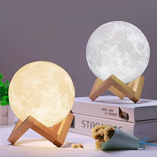 3D Full Moon Lamp,Mayround 15cm/5.9 Inch LED Lunar Moon Night Light Modern Lamp [Touch Control][USB Charging][Free Wooden Stand] Dimmable Brightness Home Decor Christmas Gift for Kid,Children,Friends