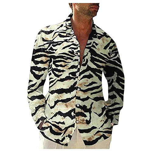 Briskorry Chemise à manches longues pour homme - En coton - Motif zèbre - Coupe droite - Manches longues, Blanc., XL