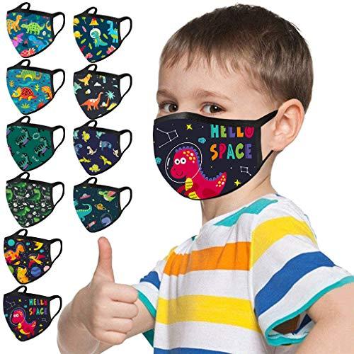 Loopardo 10er Pack Kinder Mundschutz Multifunktionstuch Animal Print Bandana Maske Waschbar Atmungsaktiv Stoffmaske Baumwolle Mund-Nasen Bedeckung Dinosaurier Tiermotiv Halstuch Schals