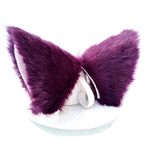 ONECHANCE Orejas de zorro cosplay oreja de gato diadema Catwoman disfraz de Halloween Carnaval (Prpura)