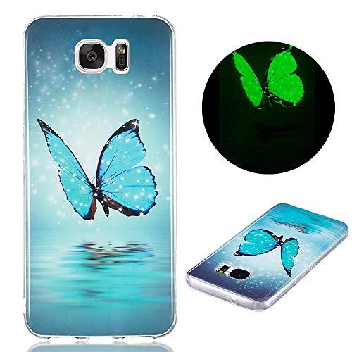 Funda Compatible con Samsung Galaxy S7, Carcasa Luminoso de Silicona Suave TPU Gel Diseño Dibujos Animados Noctilucent Ultra Fina Anti-Scratch Fluorescente Funda - Mariposa