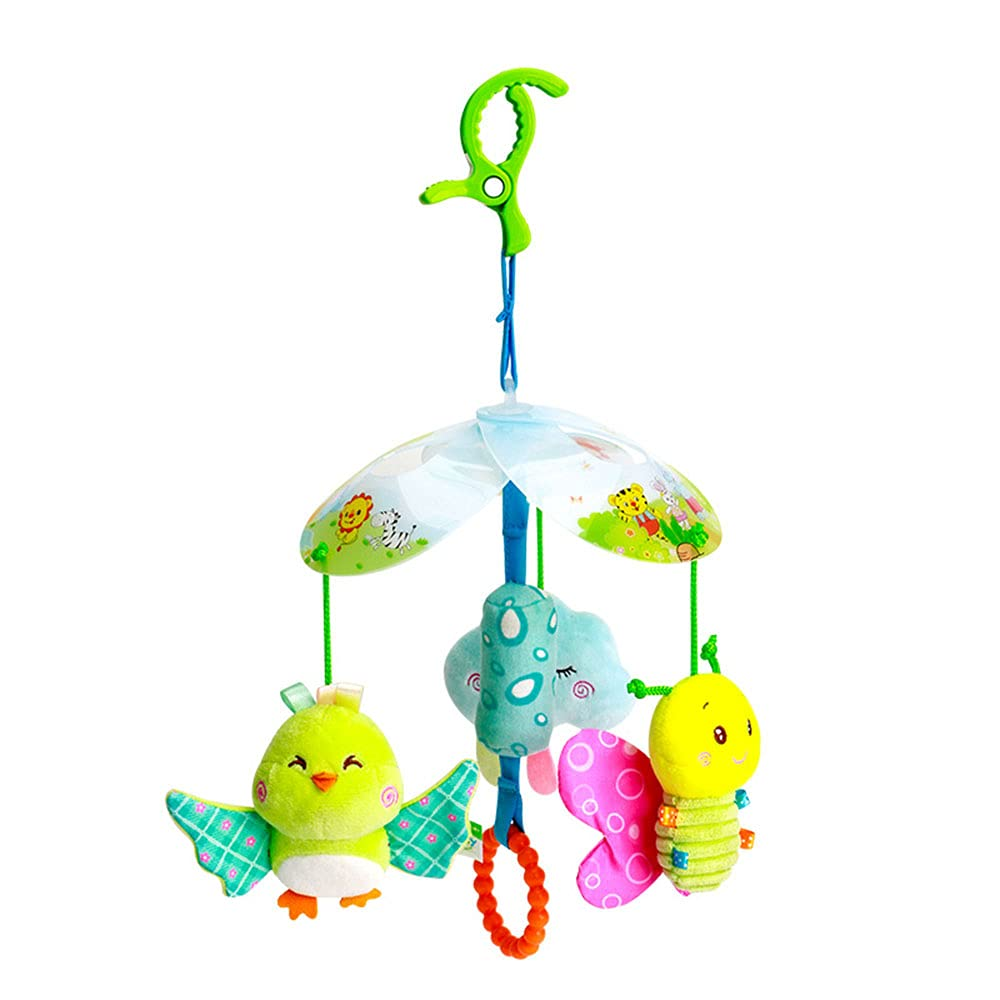 D-KINGCHY Baby Hanging Rattle Toys, Car Seat Stroller Toys, Newborn Soft Crib Plush Toy with Grasp, Sound and Wind Bell for 0-1 Year Old (Sky Series)