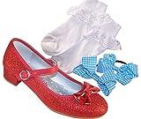 Niñas rojo tacón bajo fiesta y vestir zapatos con calcetines y accesorios para el cabello perfecto para Dorothy Outfit, color Rojo, talla 33 EU