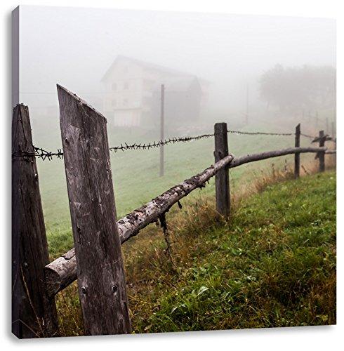 Houten omheining op weideCanvas Foto Plein | Maat: 60x60 cm | Wanddecoraties | Kunstdruk | Volledig gemonteerd