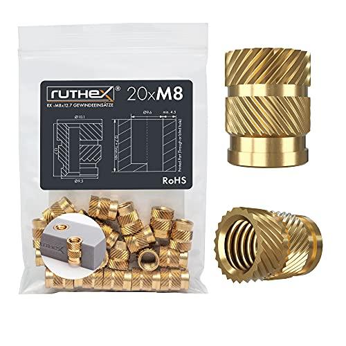 ruthex M8 Gewindeeinsatz – 20 Stück RX-M8x12.7 Gewindebuchsen aus Messing – stabile Einpressmutter für Kunststoffteile – durch Wärme oder Ultraschall in 3D-Druck-Teile aus Kunststoff einsetzbar