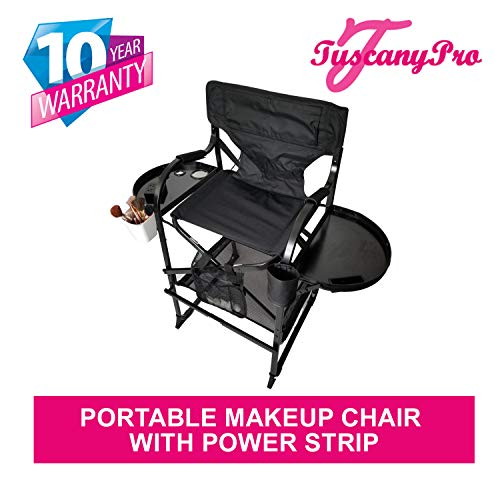 TUSCANY PRO Tall Makeup Chair w/Power Strip-(29' Seat Height) A Bonus Brush Bucket Included!!