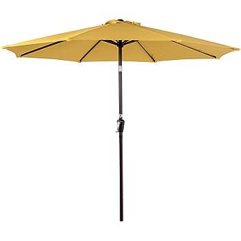 Sundale Outdoor 10FT Patio Umbrella Table Umbrella Market Umbrella with Aluminum Pole & Auto Tilt, Polyester Canopy Shade for Patio, Garden, Deck, Backyard, Pool, Yellow