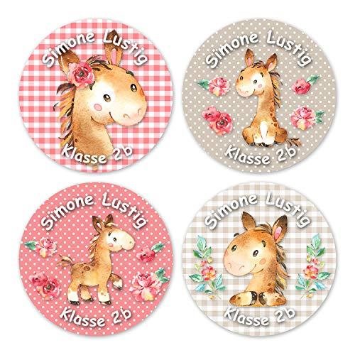 24 individuelle Namensaufkleber zum Markieren von Heften und Schul-Büchern - Pferde - personalisierte Sticker für Kinder - Geschenk zur Einschulung - Perfekt für die Schule - Schulbuchetiketten