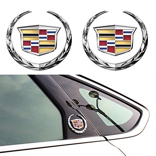 For 2pcs Cadillac Emblem 6cm, Silver Grille Wreath & Crest 3D Logo Symbol Stickers Metal Decals for Cadillac Escalade ATS SRX XTS CTS XT5 XLR