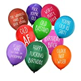 Funny Abusive Old Age Birthday Party Balloons - 12'/32 Pack with 10 Different Offensive Phrases in various colors