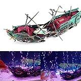 Tianhaik Adorno de Acuario Grande hundido galleón Barco naufragio Bomba de Aire accionado navío decoración para pecera Accesorios
