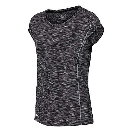 Regatta T- Shirt Technique Stretch Manches Courtes HYPERDIMENSION léger et Respirant Polos/Vests Femme, Black, FR : XXS (Taille Fabricant : 8)