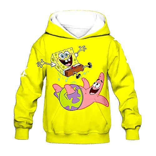SpongeBob SquarePants Pullover Langarm-Sweatshirt Hipster Pullover Thinner Mäntel Bequeme Pullover Karikatur-Druck-Outwear for Jungen und Mädchen Junge und Mädchen ( Color : A03 , Size : 120 )