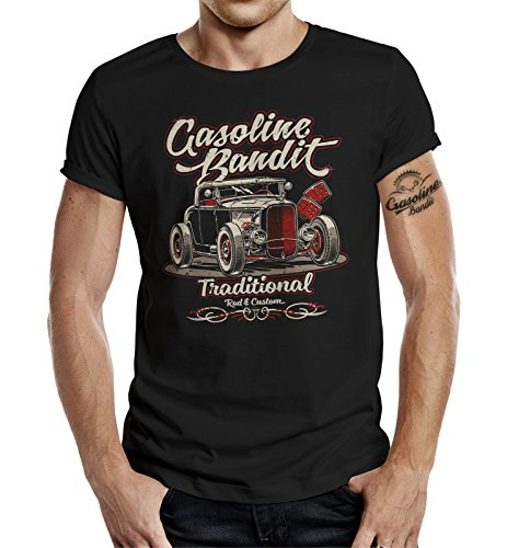 Gasoline Bandit Rockabilly Hot-Rod RacerT-Shirt original Design: Traditional (XXXXL, Schwarz)