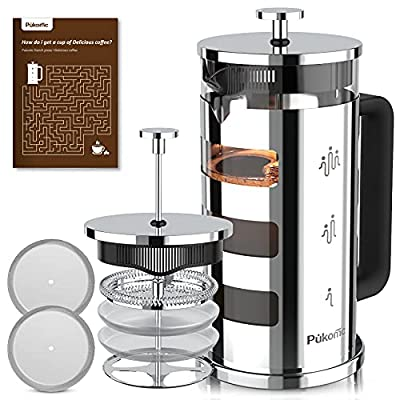 Pukomc French Press Coffee Maker 34 oz,Tea Maker with 4 Level Filtration System Heat Resistant Removable Borosilicate Glass 304 Grade Stainless Steel Stylish Durable