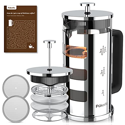 Pukomc French Press Coffee Tea Maker 34 oz, 304 Stainless Steel Glass coffee press with 4 Filters, No Grounds, Removable Heat Resistant Borosilicate Glass