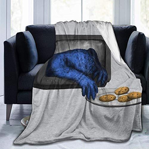 N \ A SES-AME Street Cookie Monster Coming for Your Cookies Plaid en flanelle polaire légère ultra douce et chaude pour canapé