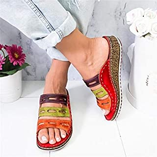 Summer women slippers Rome Retro three-color casual shoes Thick bottom wedge open toe sandals beach slip on slides female shoes Ladies outdoor colorful slippers (Color : Red, Shoe Size : 36)