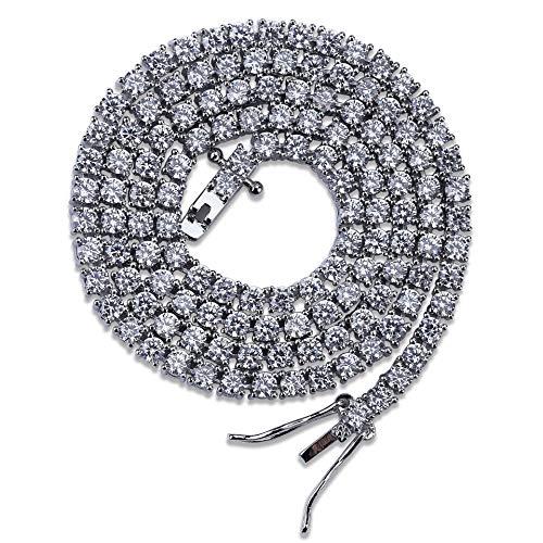 WJMSS Herren Halskette Tennis Kette einreihig 3mm Schlüsselbein Kette Ice Out Tennis Kette Hip Hop Schmuck Mode Accessoires Geschenke,Silver,22inches