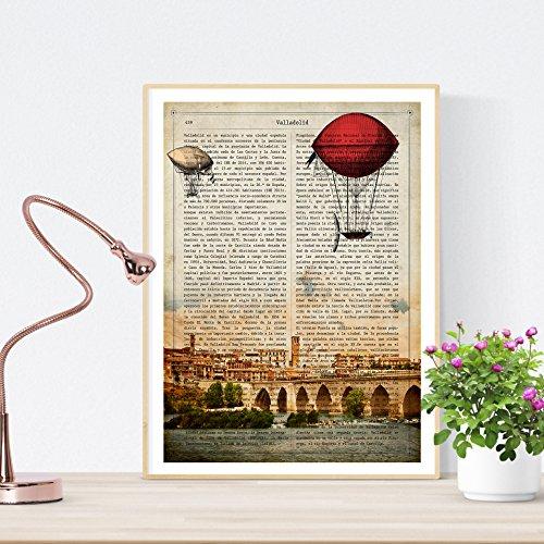 Nacnic Lámina Ciudad de Valladolid. Estilo Vintage. Ilustración, fotografía y Collage con la Historia DE Valladolid. Poster tamaño A4 Impreso en Papel