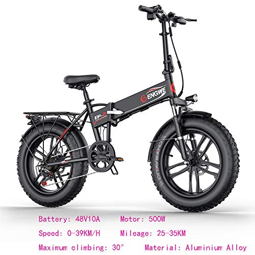 SHIJING Elektrische fiets, 20 x 4,0 inch, aluminium, opvouwbare elektrische fiets, 48 V10 A, 500 W, 40 km/u, 6 g, krachtige Fat Tire Bike Mountain Snow ebike, 2 stuks
