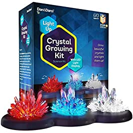 Crystal Growing Kit for Kids + LIGHT-UP Stand – Science Experiments for Kids – Crystal Science Kits – Craft Stuff Toys for Teens – STEM Projects for Boys & Girls – Grow Crystals and Make Them Glow