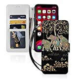 Tree of Life Psychedelic Good Luck Elephant iPhone 11 Wallet Case with Card Holder Kickstand Detachable Wrist Strap PU Leather Compatible iPhone 11 Pro-5.8 Premium Magnetic TPU Phone Cover