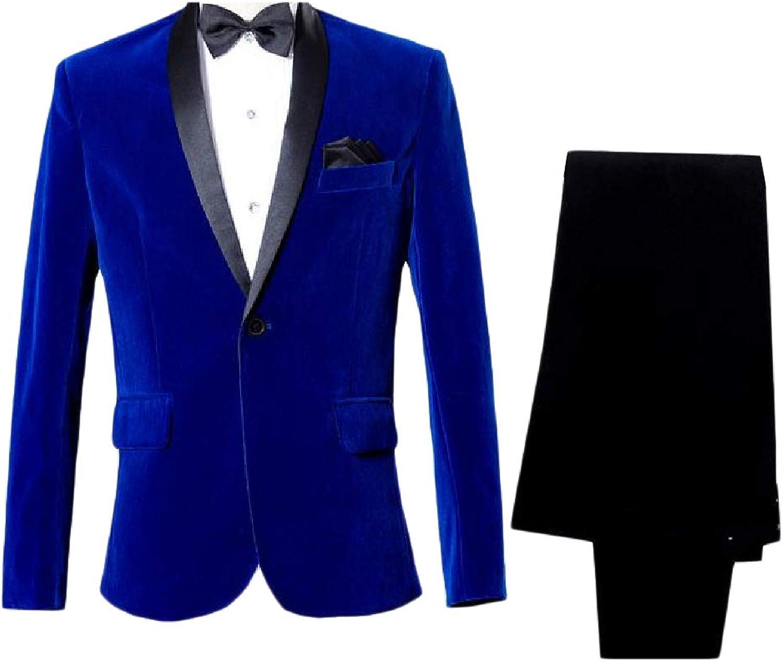 Zimase Mens Slim Fit Business Vogue One Button 2 Piece Set Blazer Jackets
