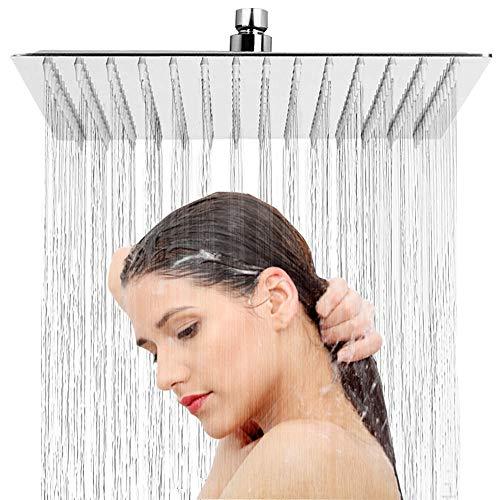 Regendusche Duschkopf Kopfbrause - 8 Zoll Quadratischer Einbauduschkopf 304 Edelstahl Brausekopf mit Anti-Kalk-Düsen Duschkopf Wasserfall Regenduschkopf