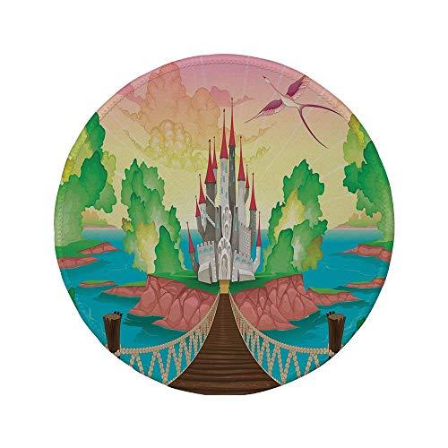 """Rutschfreies Gummi-rundes Mauspad Kinder Princess Castle über der Holzbrücke und Phoenix Bird Fairy Dream World Girls Image mehrfarbig 7.9\""""x7.9\""""x3MM"""