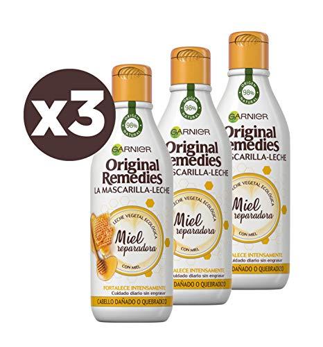 Garnier Original Remedies La Mascarilla - Leche Miel reparadora para pelo dañado y quebradizo - Pack de 3 x 250 ml