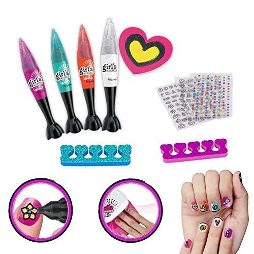 Nail Art Pen Set Set de Stylo de manucure pour Enfants, Jouets de Maquillage, Vernis à Ongles, Cadeau de Fille de Motif Peint à la Main