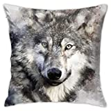 Antvinoler Nordic Simple Watercolor Painting Wolf Animals Art Throw Pillow Case Cushion Cover Home Office Decorative Square Pillowcase 18 X 18 Inches