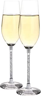 Champagne Glasses Lead Free 8 Ounce - Champagne Flutes with Crystal Diamond Stem Set of 2,The Best Gift for Weddings, Parties, and Special Celebrations