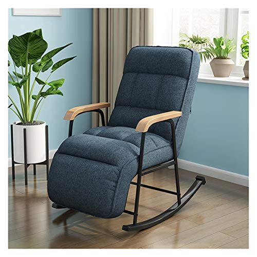 HongTeng-Rocking chair Fabric Rocking Chair European Modern Balcony Armchair Living Room Furniture Lazy Sofa Recliner Bedroom Lounge Chair, Multi-color Optional (Color : Dark blue)